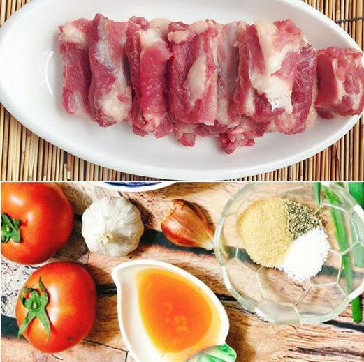 nguyên liệu làm món sườn xào chua ngọt với cà chua