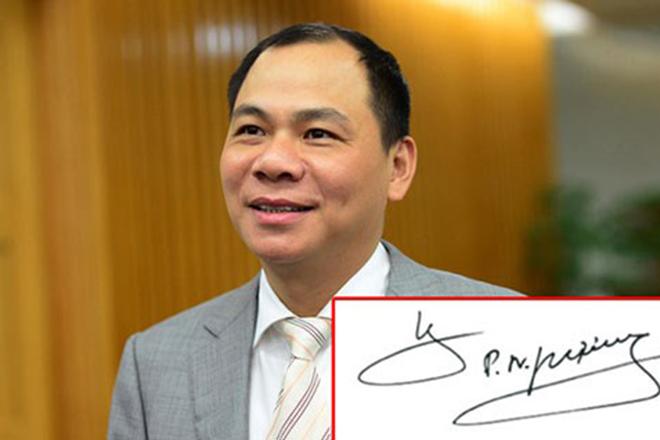 Chữ ký của tỷ phú Phạm Nhật Vượng