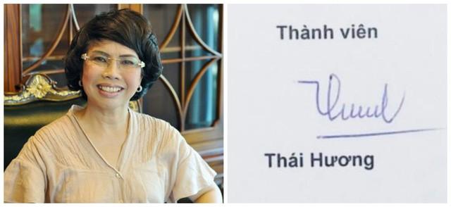 Chữ ký của doanh nhân Thái Hương